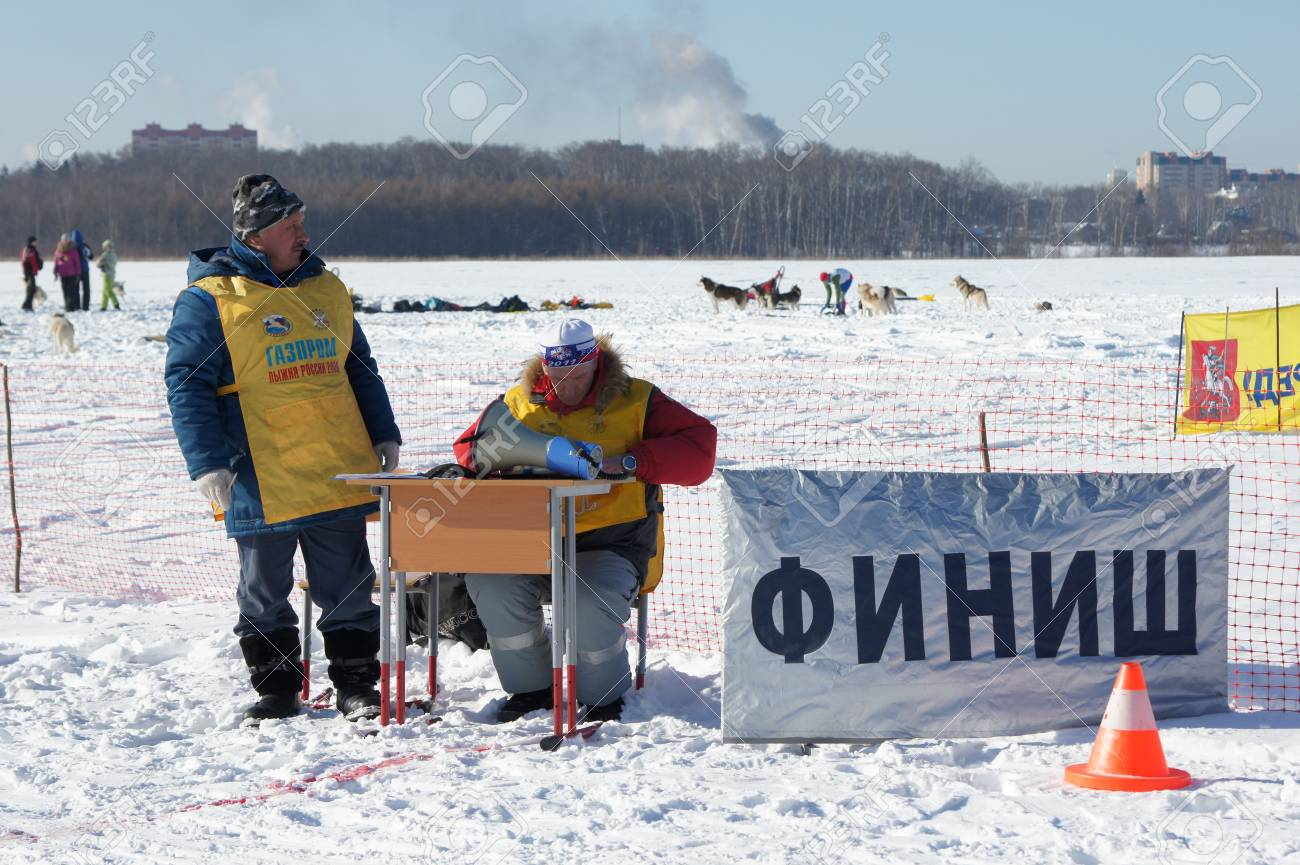 RUSSIA, MOSCOW - FEBRUARY 19: Participants of competition prepare for arrival