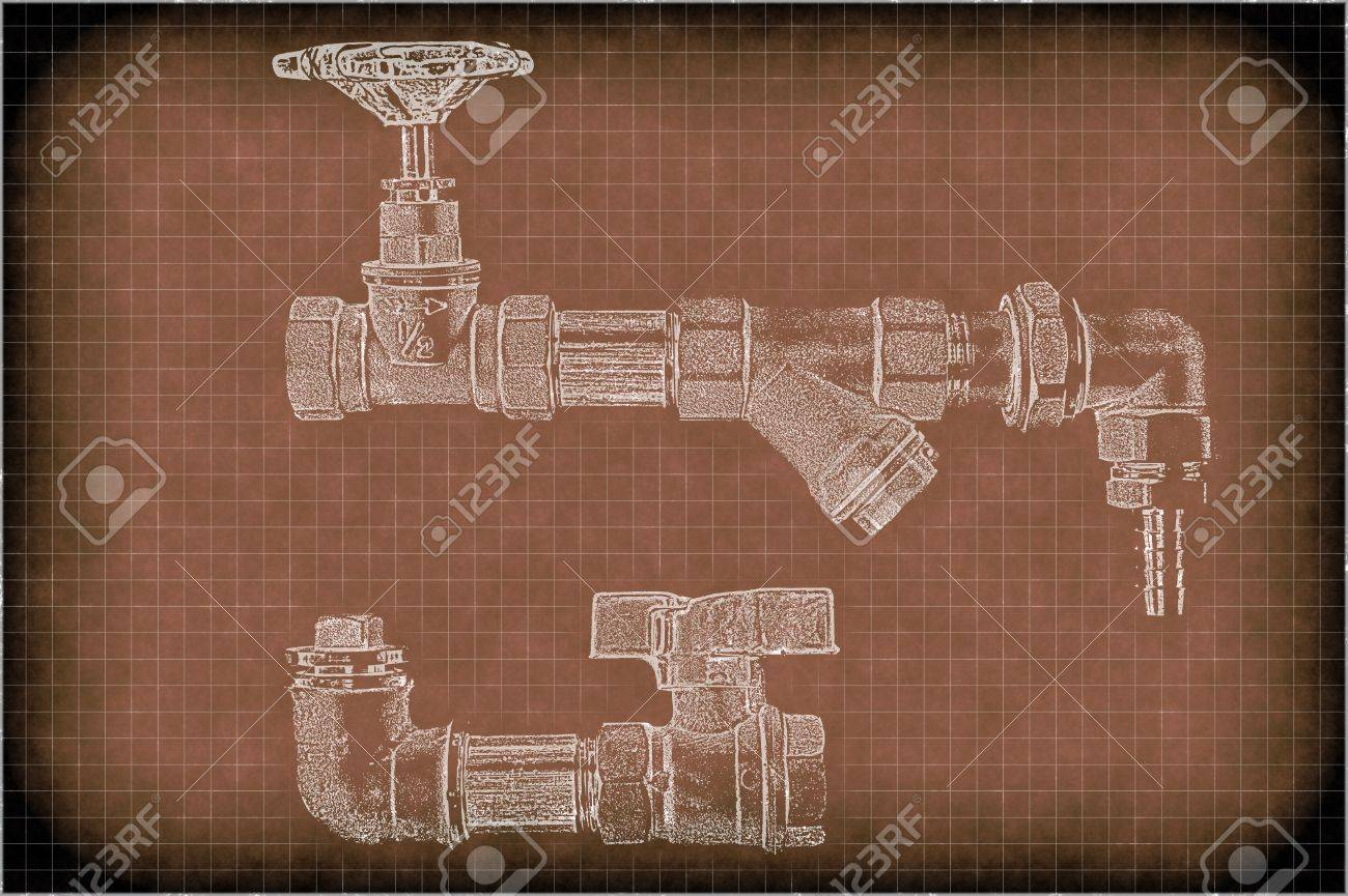 imitation of a drawing of plumbing pipes Stock Photo - 11263491