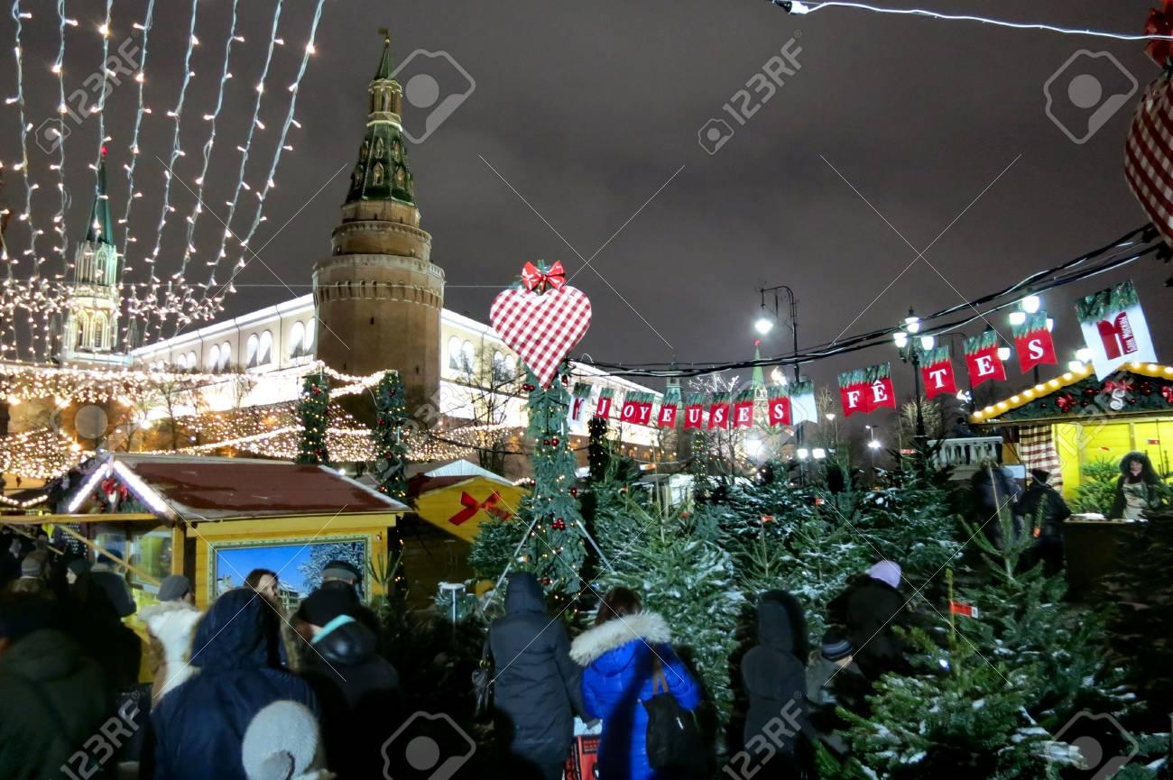 26.12.2012 Moscow. The Strasbourg fair on Manezhnaya Square, a fir-tree market. Stock Photo - 17355738