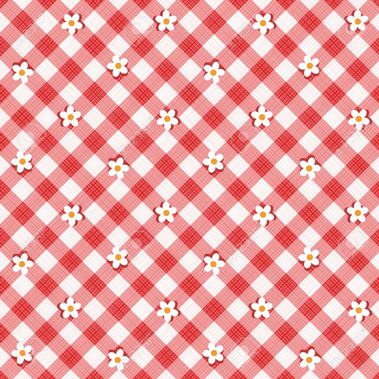 Vettoriale Sfondo Floreale Stoffa A Quadretti Rosso E Bianco Con