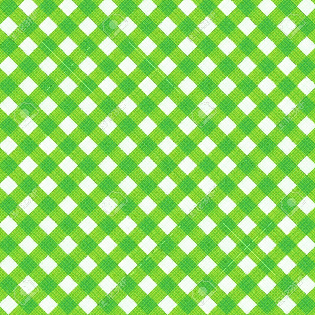 Fresh Green And White Gingham Cloth Background With Fabric Texture Suitable For Spring Summer