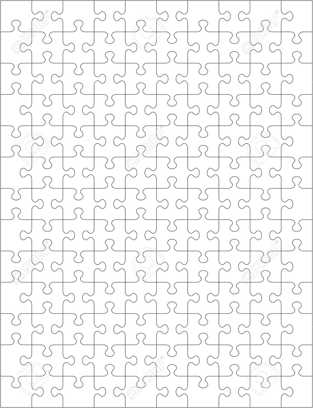 Jigsaw Puzzle Blank Template Or Cutting Guidelines Of 130 Transparent Pieces Are Easy To