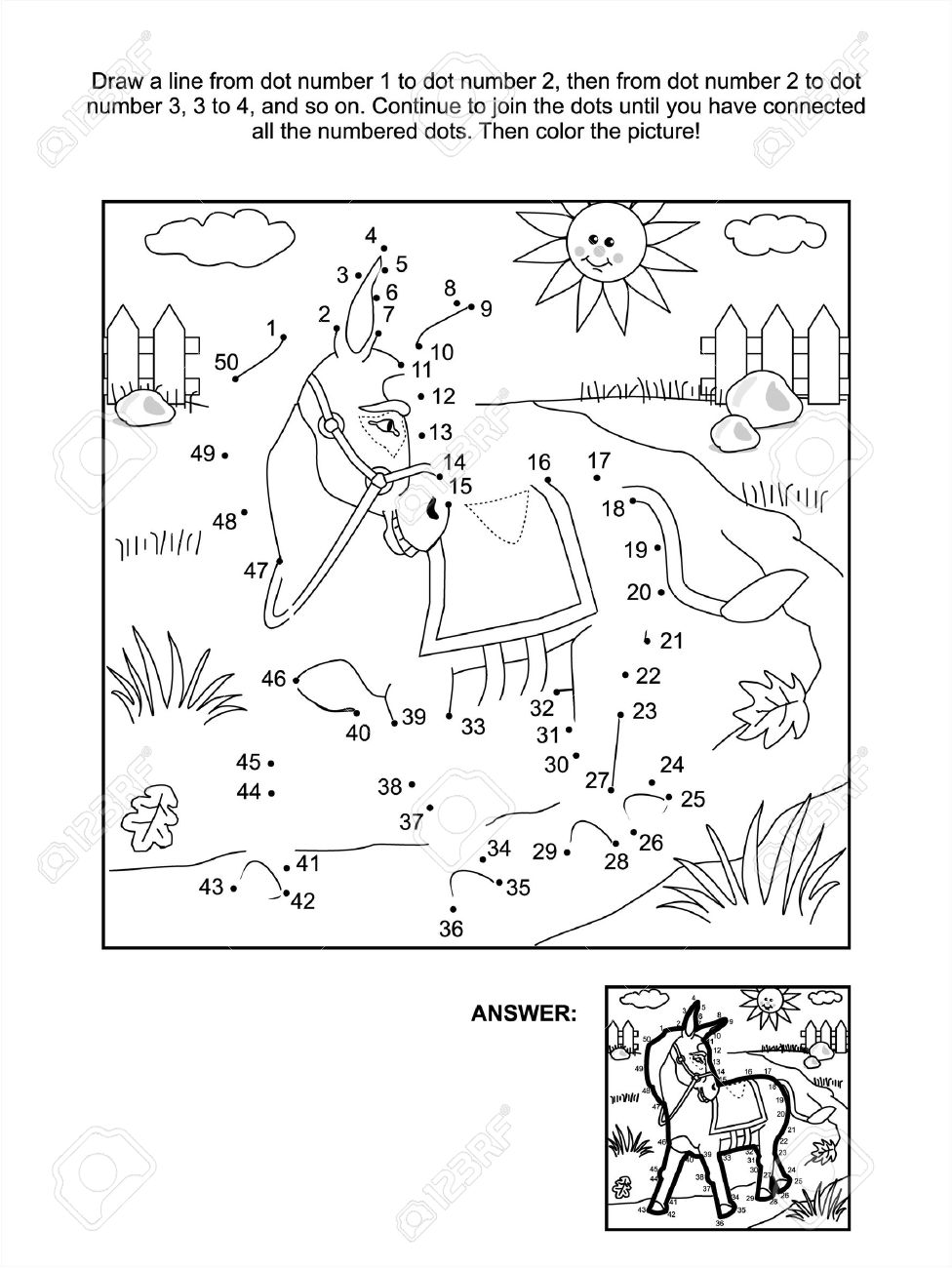 connect the dots picture puzzle and coloring page donkey answer