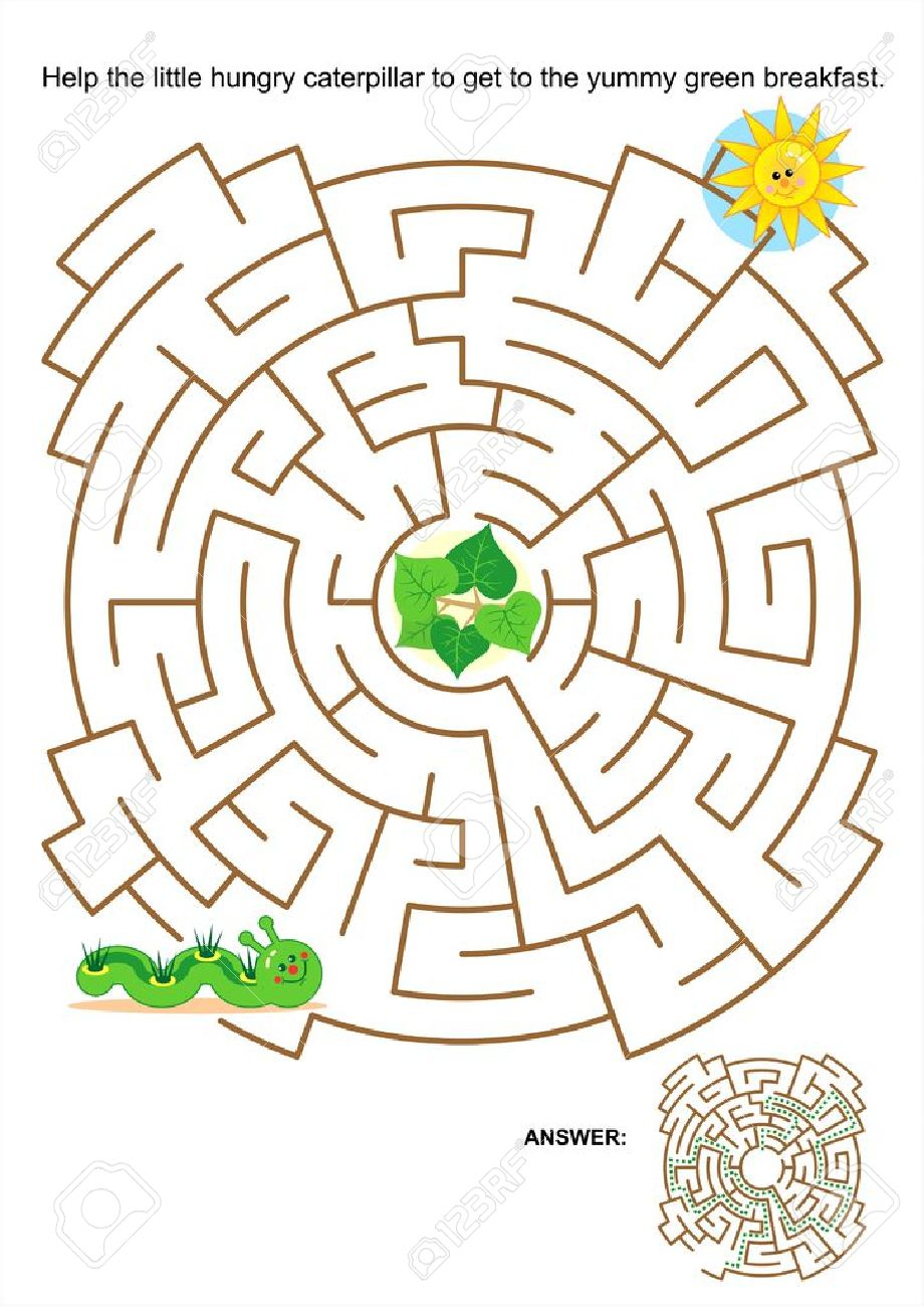 maze game or activity page for kids help the little hungry