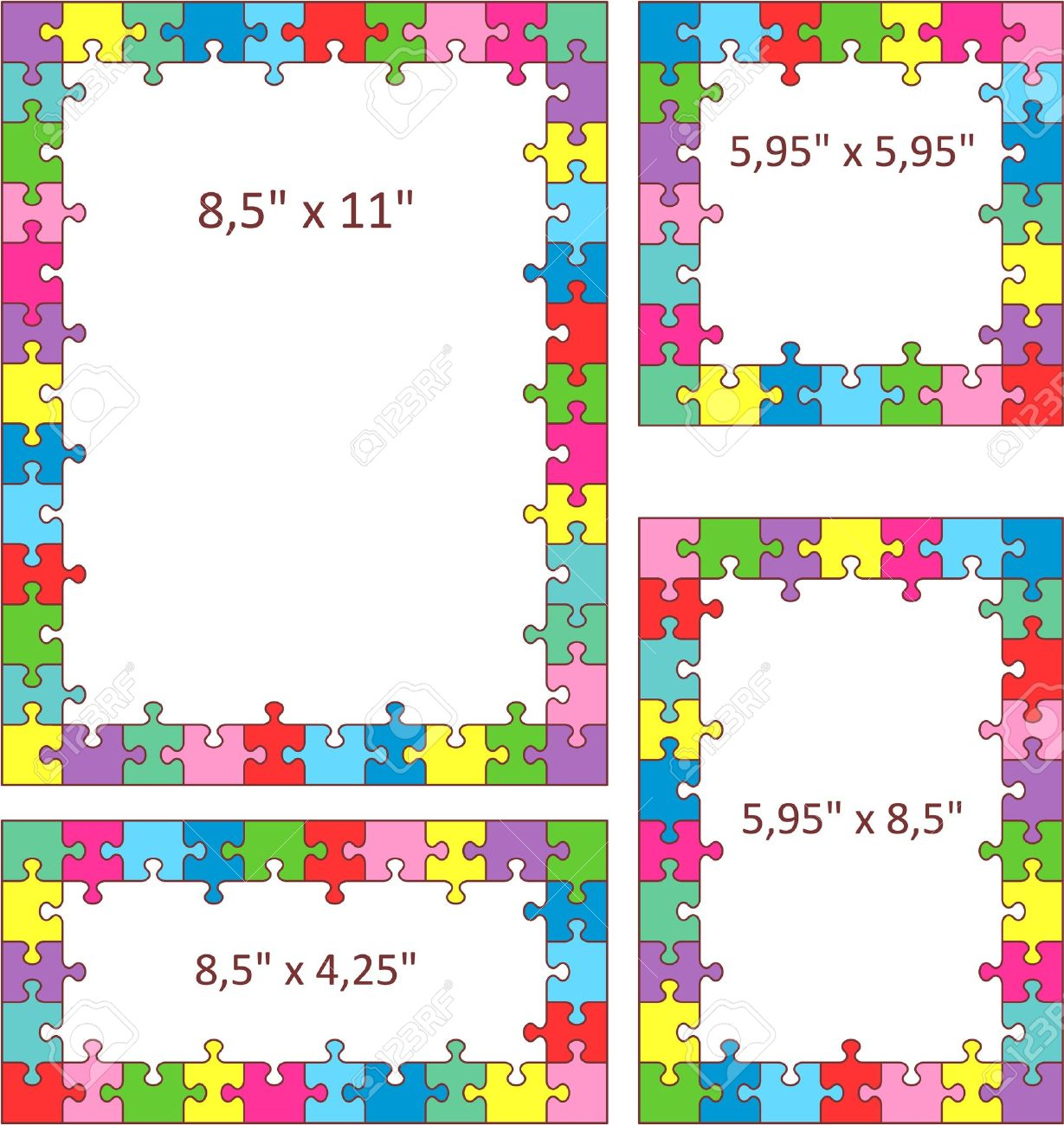 multicolor jigsaw puzzle frames borders of letter and other sizes stock vector 20295471