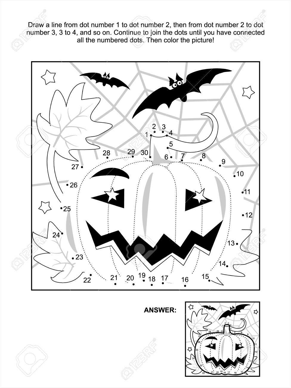 Kleurplaat Vleermuis Halloween.Verbind De Stippen Foto Puzzel En Kleurplaat Halloween Nacht Scene Met Pompoen Vleermuizen En Spinrag Antwoord Opgenomen