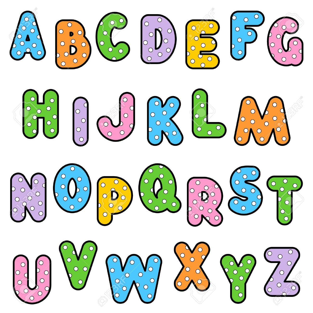 bold alphabet abc set of colorful outlined letters with polka dot pattern