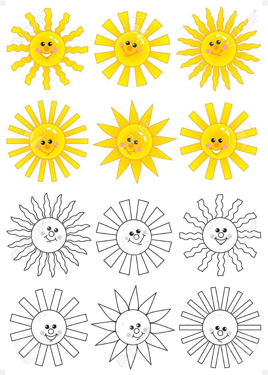 Cartoon Happy Face Black And White Set of Happy Cartoon Sun Faces