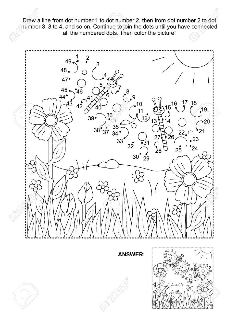 Spring coloring pages dot to dot - Connect The Dots Picture Puzzle And Coloring Page Spring Or Summer Joy Themed With