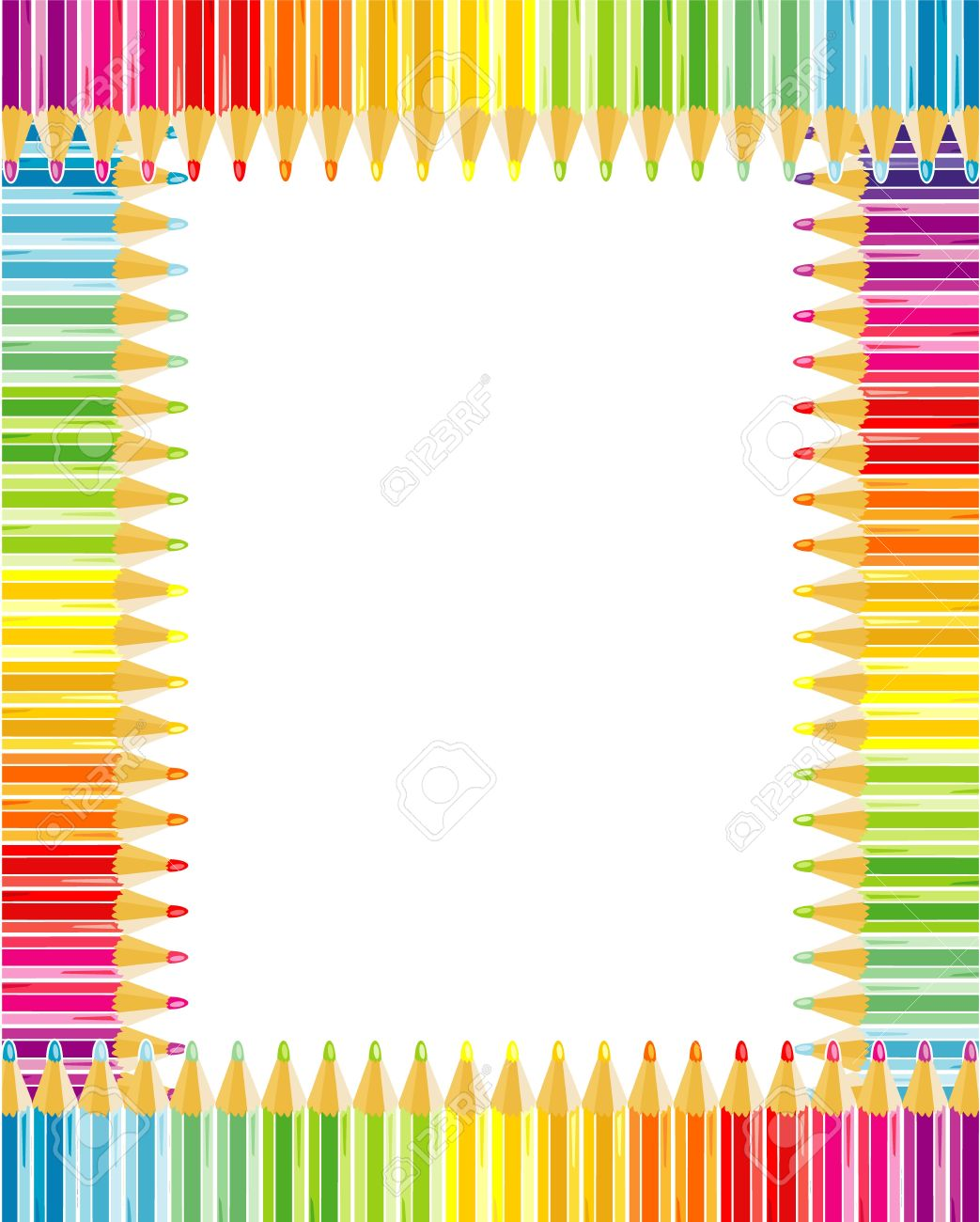 rainbow colored pencils frame or border stock vector 21874483