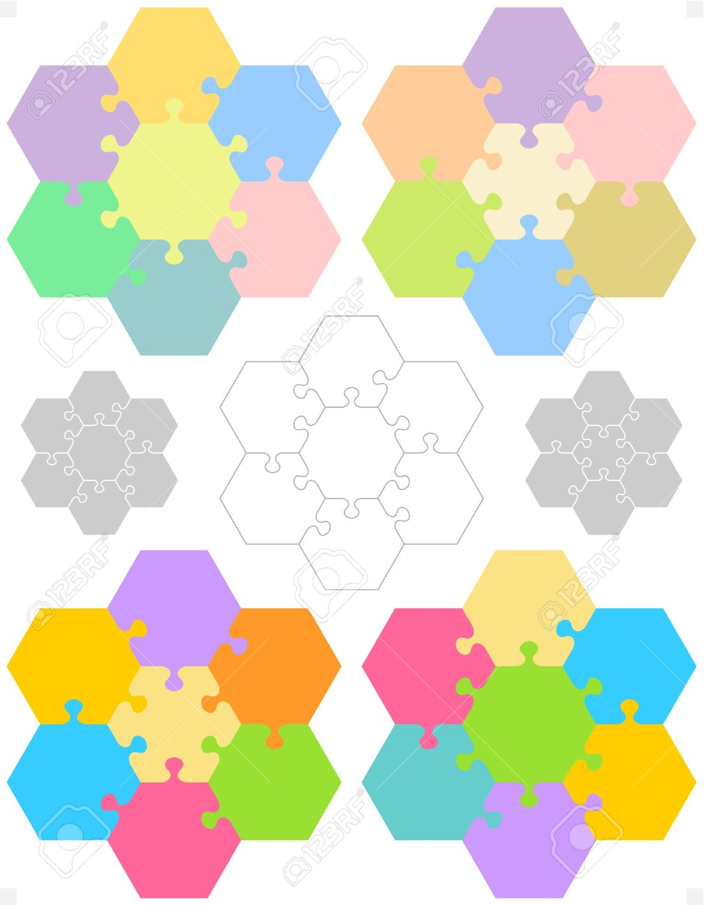 Hexagonal Jigsaw Puzzle Blank Templates Or Cutting Guidelines ...