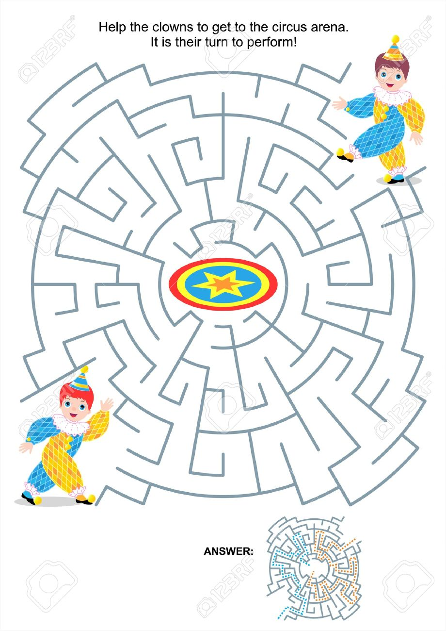 maze game or activity page for kids help the clowns to get to
