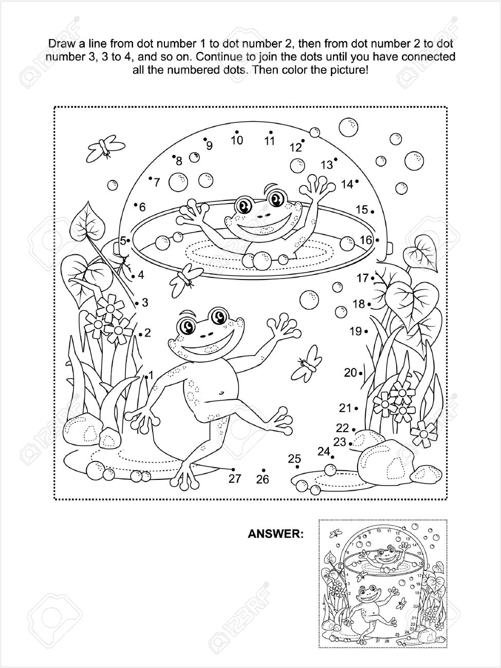 Summer dot to dot coloring pages - Connect The Dots Picture Puzzle And Coloring Page Spring Or Summer Joy Themed With