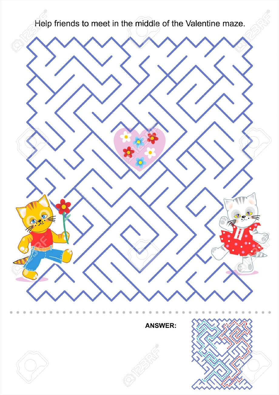 Maze game for kids  Help friends to meet in the middle of the Valentine maze  Answer included Stock Vector - 26351009
