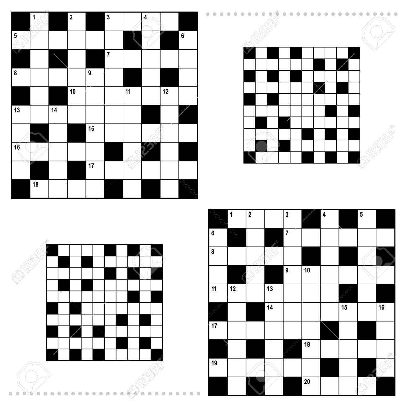 Real Size Crossword Puzzle Grids 10x10 Squares With Corresponding ...