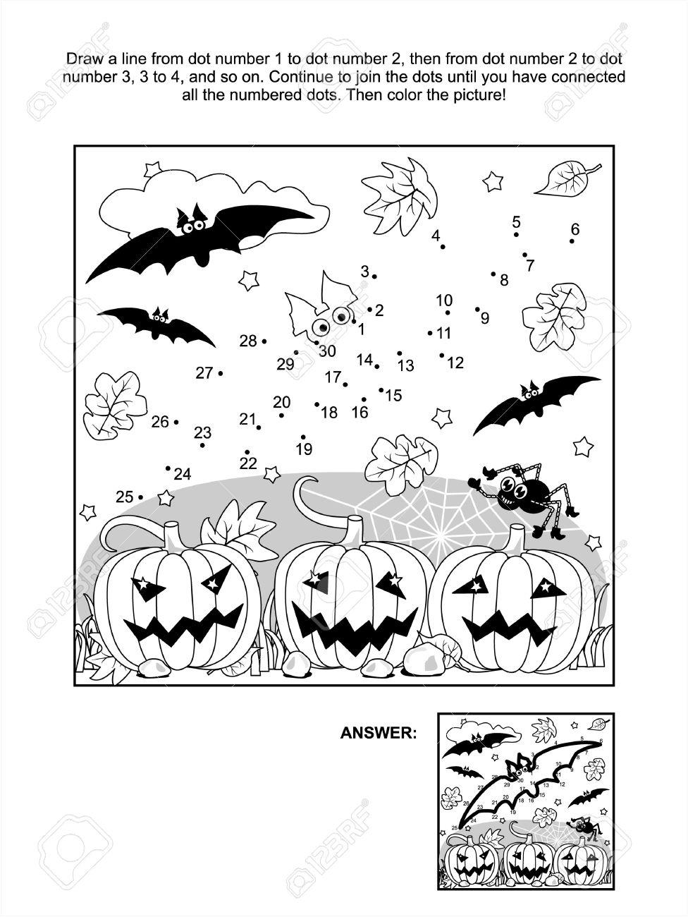 Kleurplaat Vleermuis Halloween.Verbind De Stippen Foto Puzzel En Kleurplaat Scene Van Halloween Met Vleermuizen Pompoenen Spinnen En Spinrag Inbegrepen Antwoord