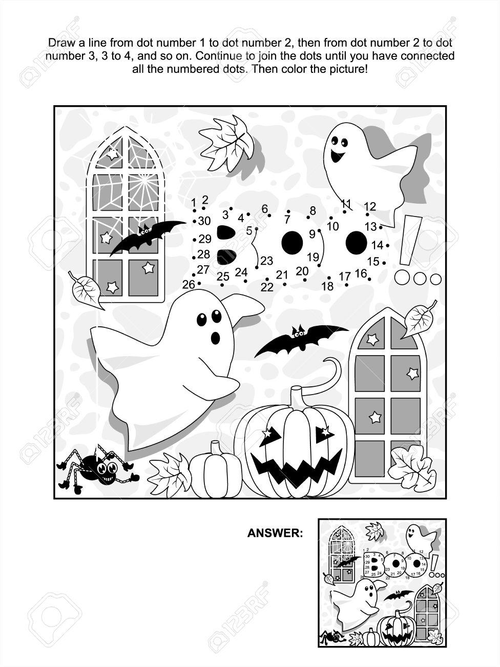 Temático De Halloween Conectar La Página De Puntos De Imagen Del ...