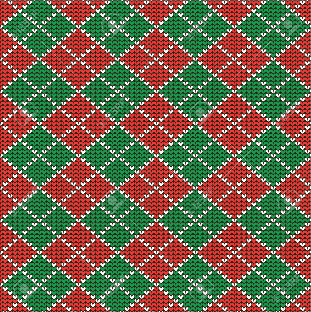 Knitted Red And Green Christmas Argyle Background, Plus Seamless ...