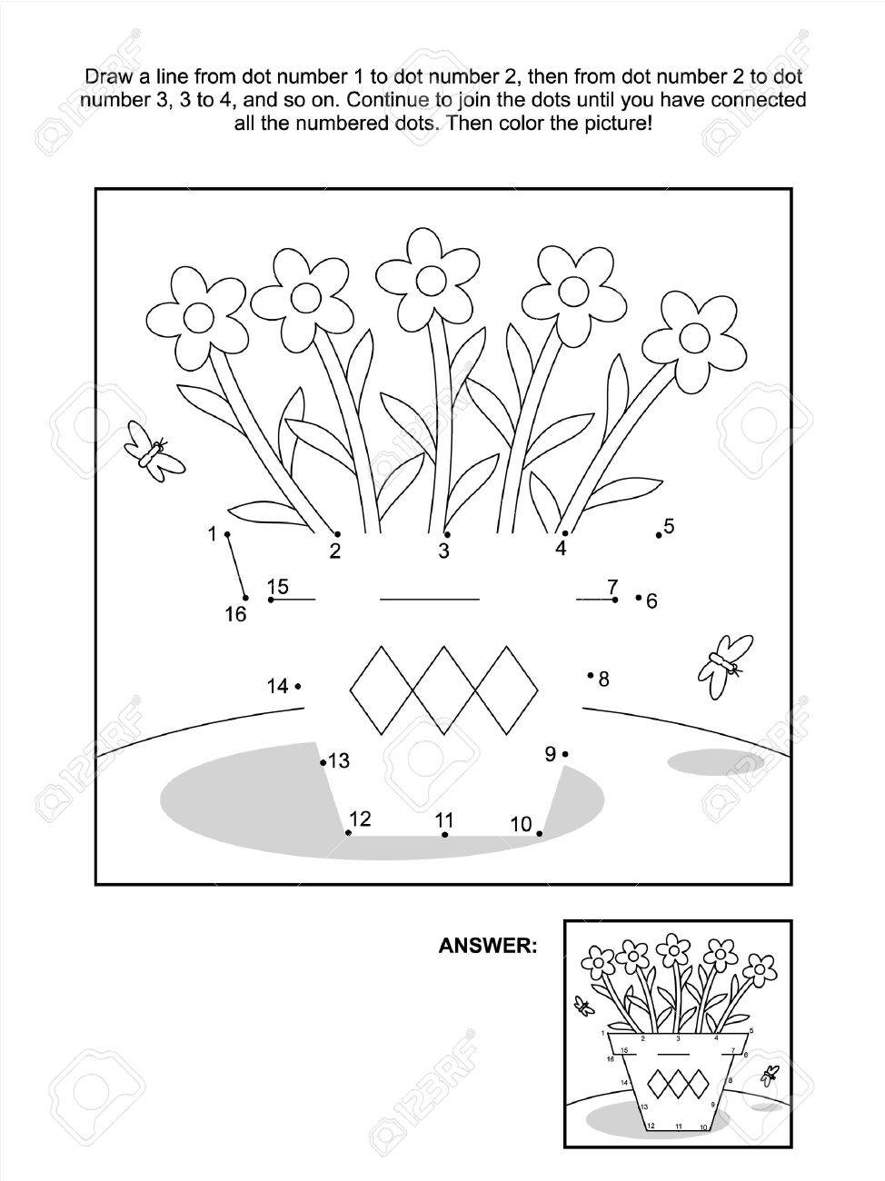 connect the dots picture puzzle and coloring page flower pot