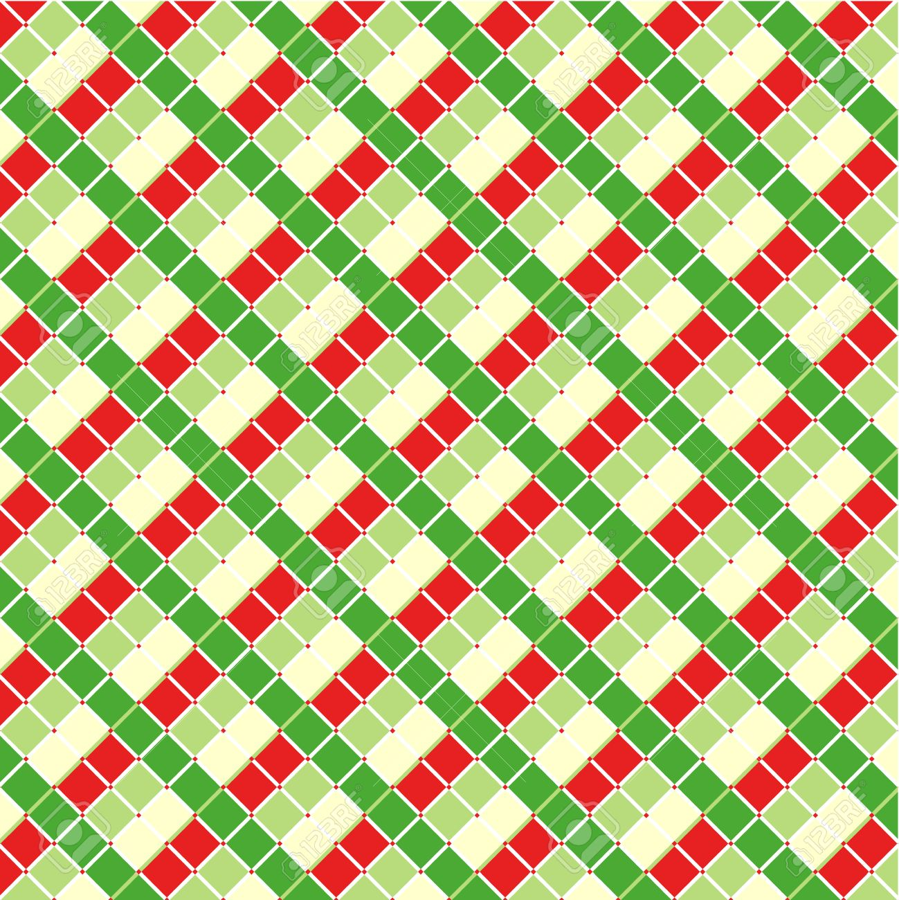 Checked Red And Green Christmas Background, Plus Seamless Pattern ...