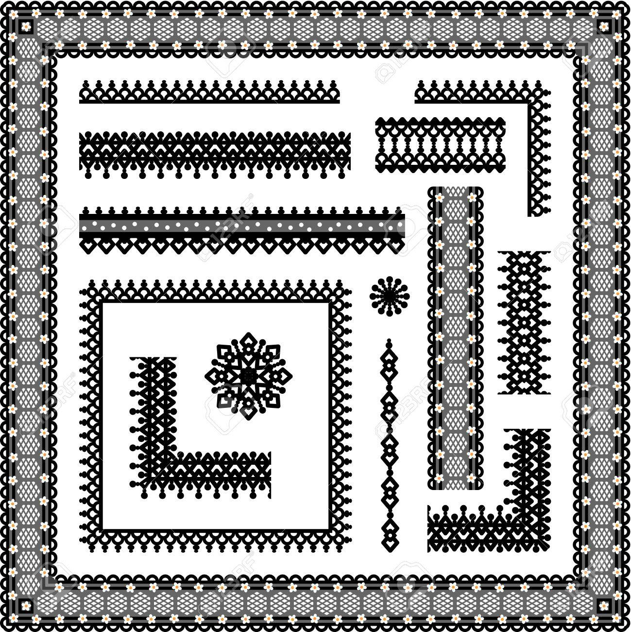 Lace design elements collection  seamless borders, corners, full frames, vignettes on transparent background Stock Vector - 27347324