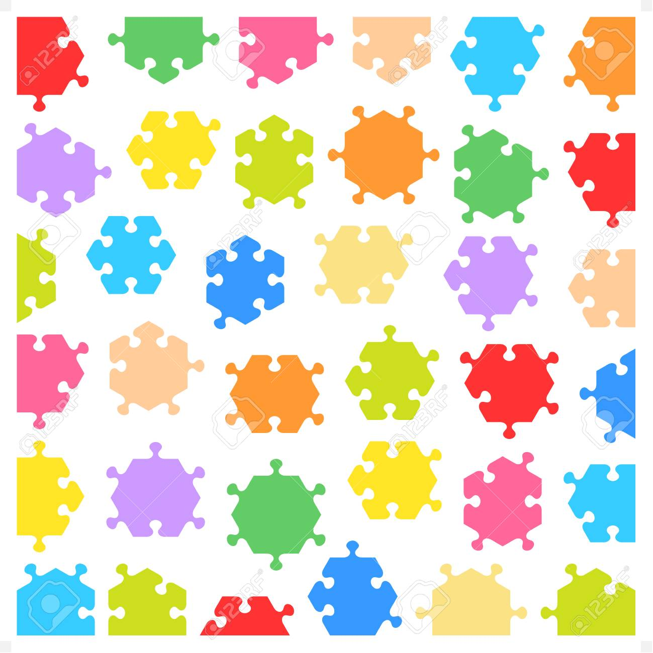 Hexagonal jigsaw puzzle pieces of various shapes and colors, isolated and fitting each other Stock Vector - 27347334