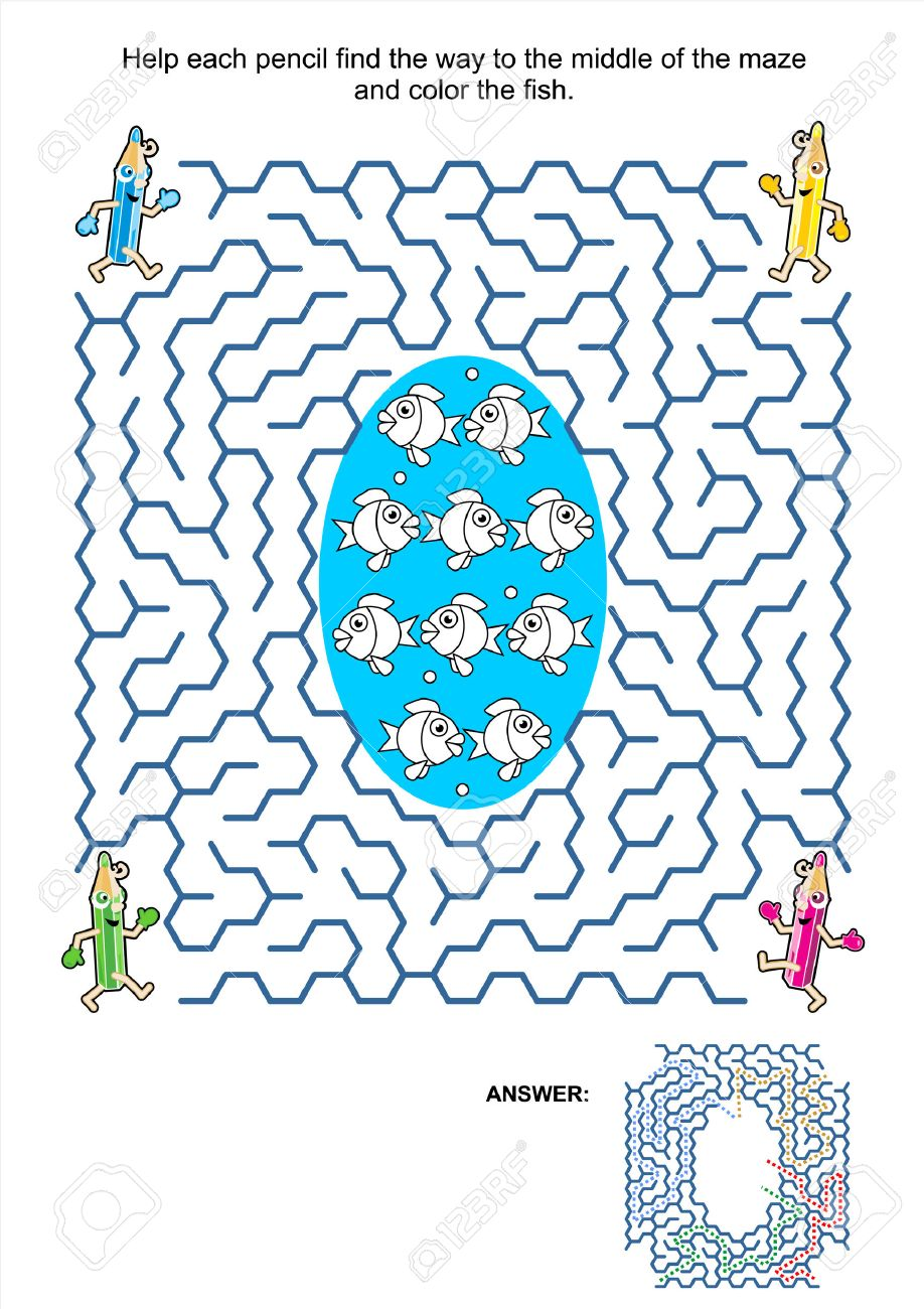 maze game and coloring activity page for kids help each pencil