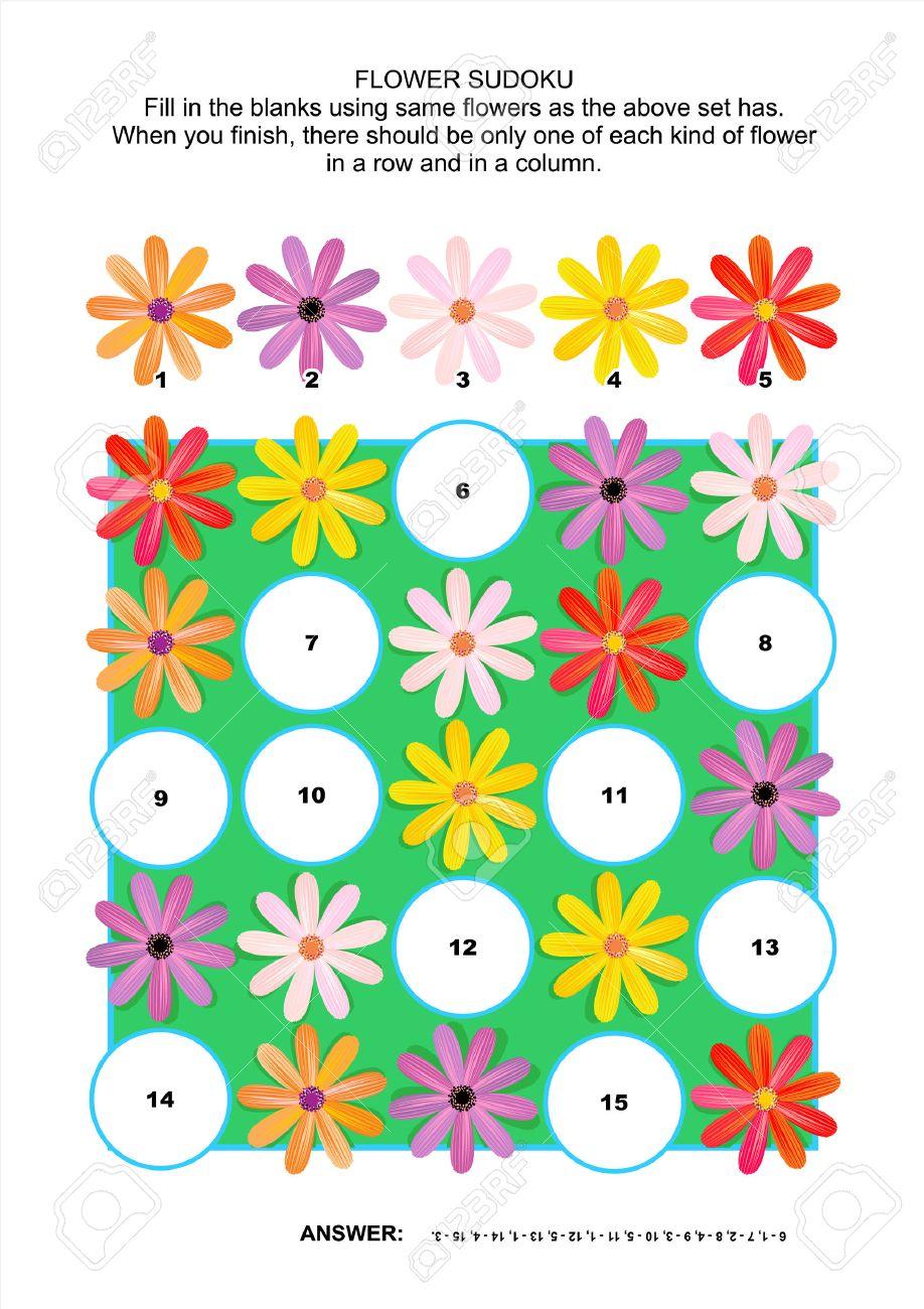 Bild 5x5 Sudoku-Rätsel Einen Block Mit Gerberagänseblümchenblumen ...