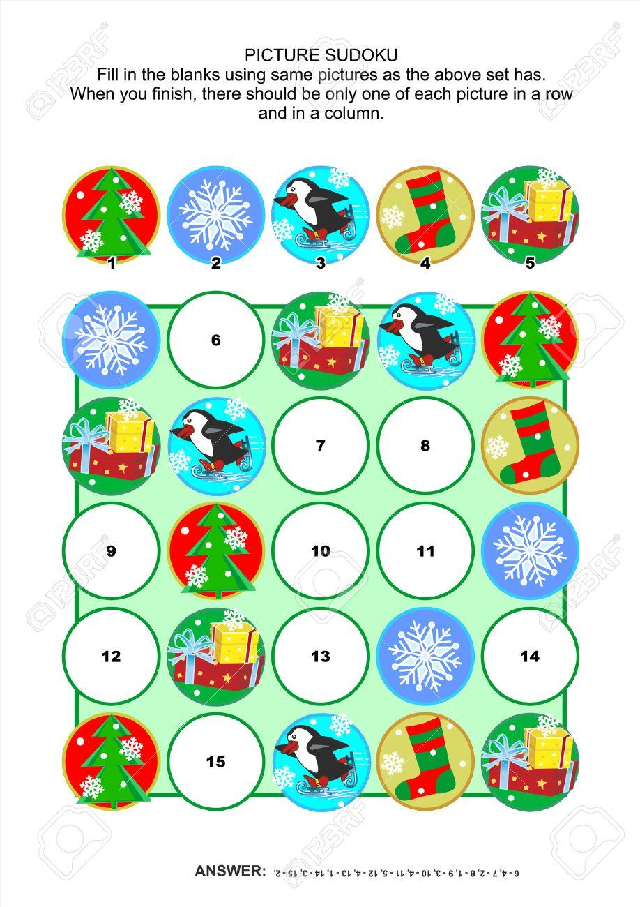 Weihnachten Oder Silvester Themen Bild 5x5 Sudoku-Rätsel-Block Mit ...