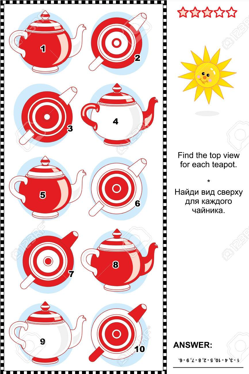 Visual puzzle or picture riddle Find the top view for each teapot