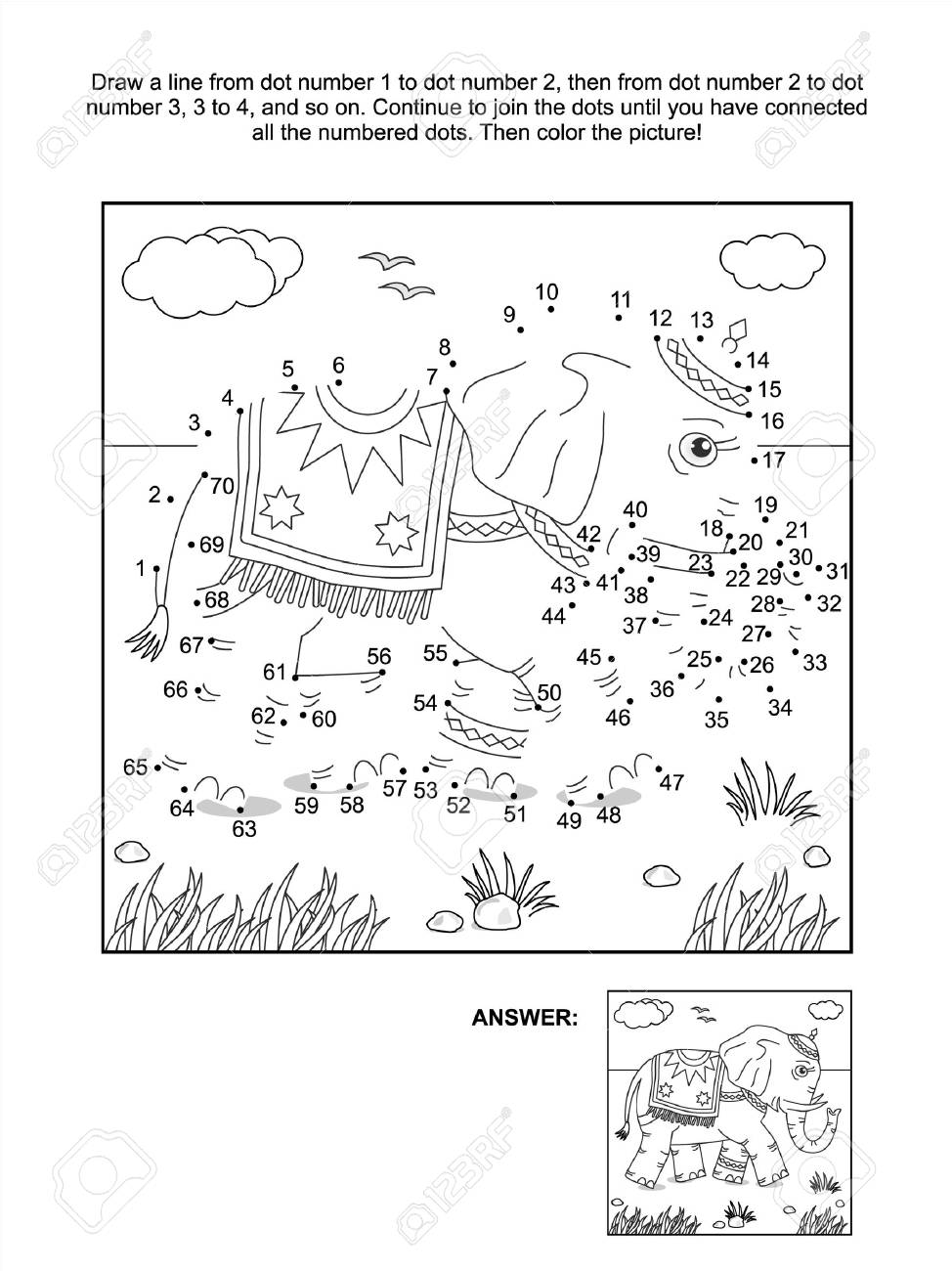 Connect The Dots Picture Puzzle And Coloring Page With Walking ...