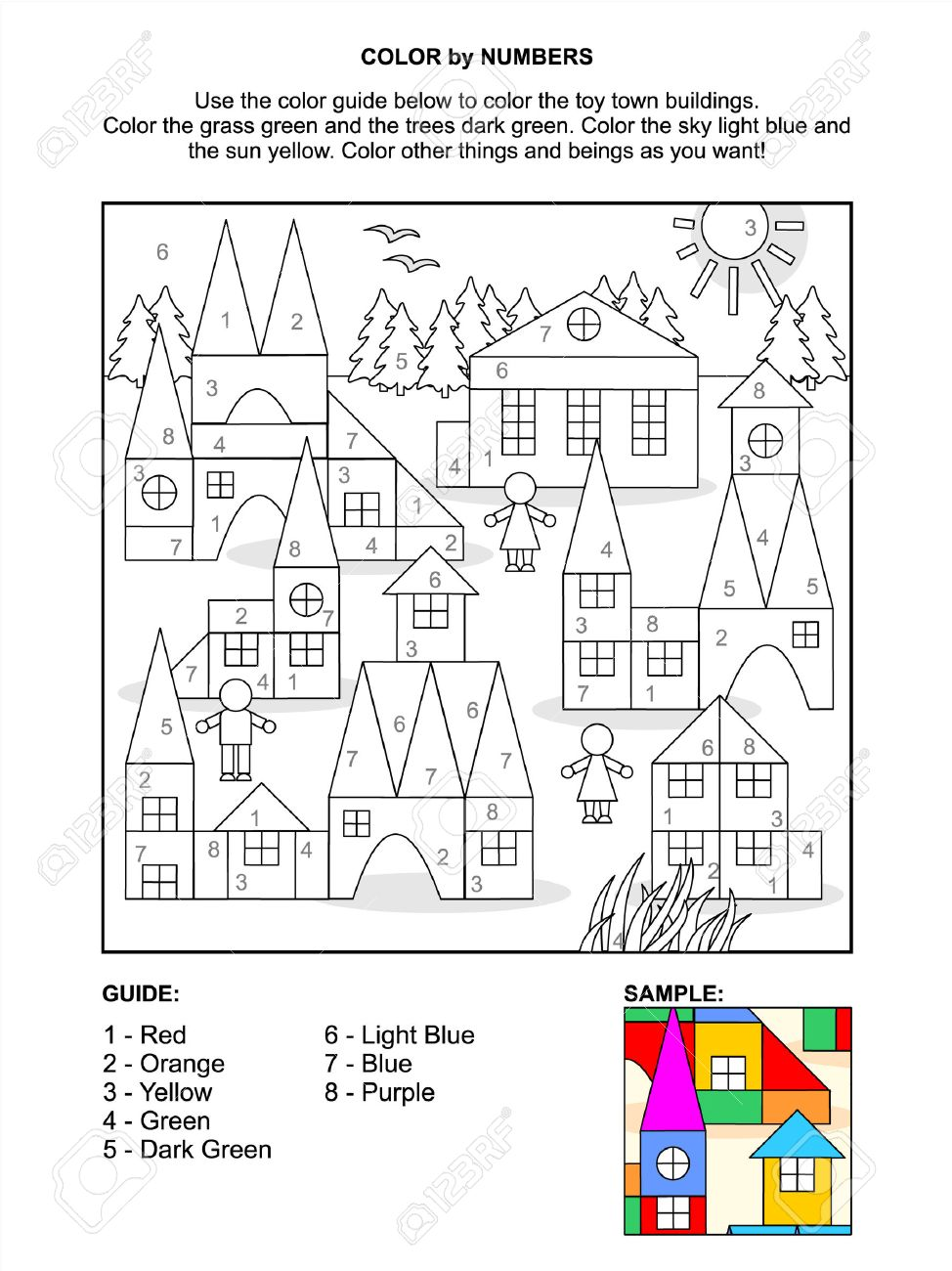 Color Por Números Página De Actividades Para Los Niños Con Escena De ...