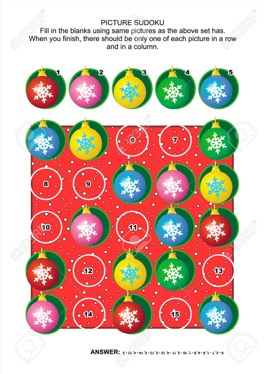 Weihnachten Oder Silvester Themed Bild Sudoku-Rätsel 5x5 (ein Block ...