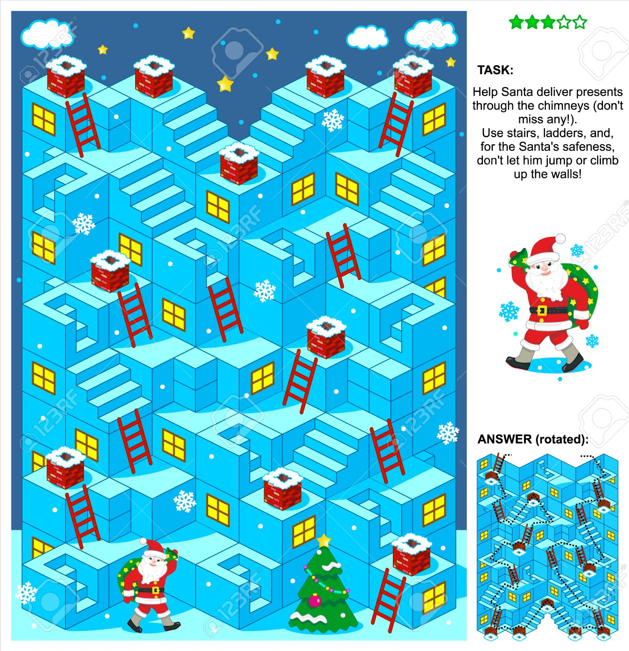 Navidad O Ano Nuevo Con Temas Juego De Laberinto 3d Con Escaleras