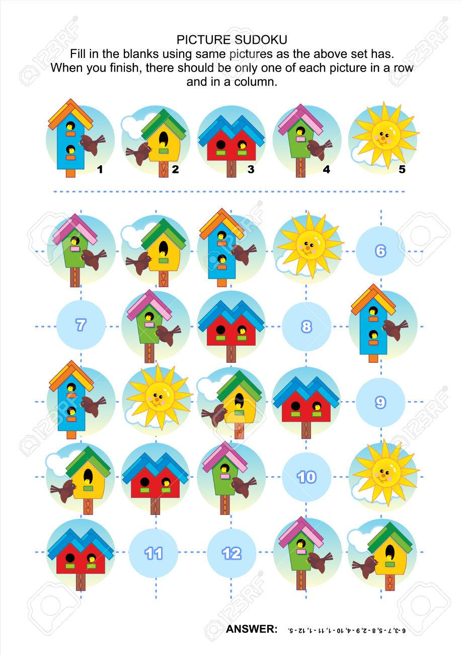 Picture Sudoku Puzzle 5x5 (one Block) With Birdhouses Of Various ...