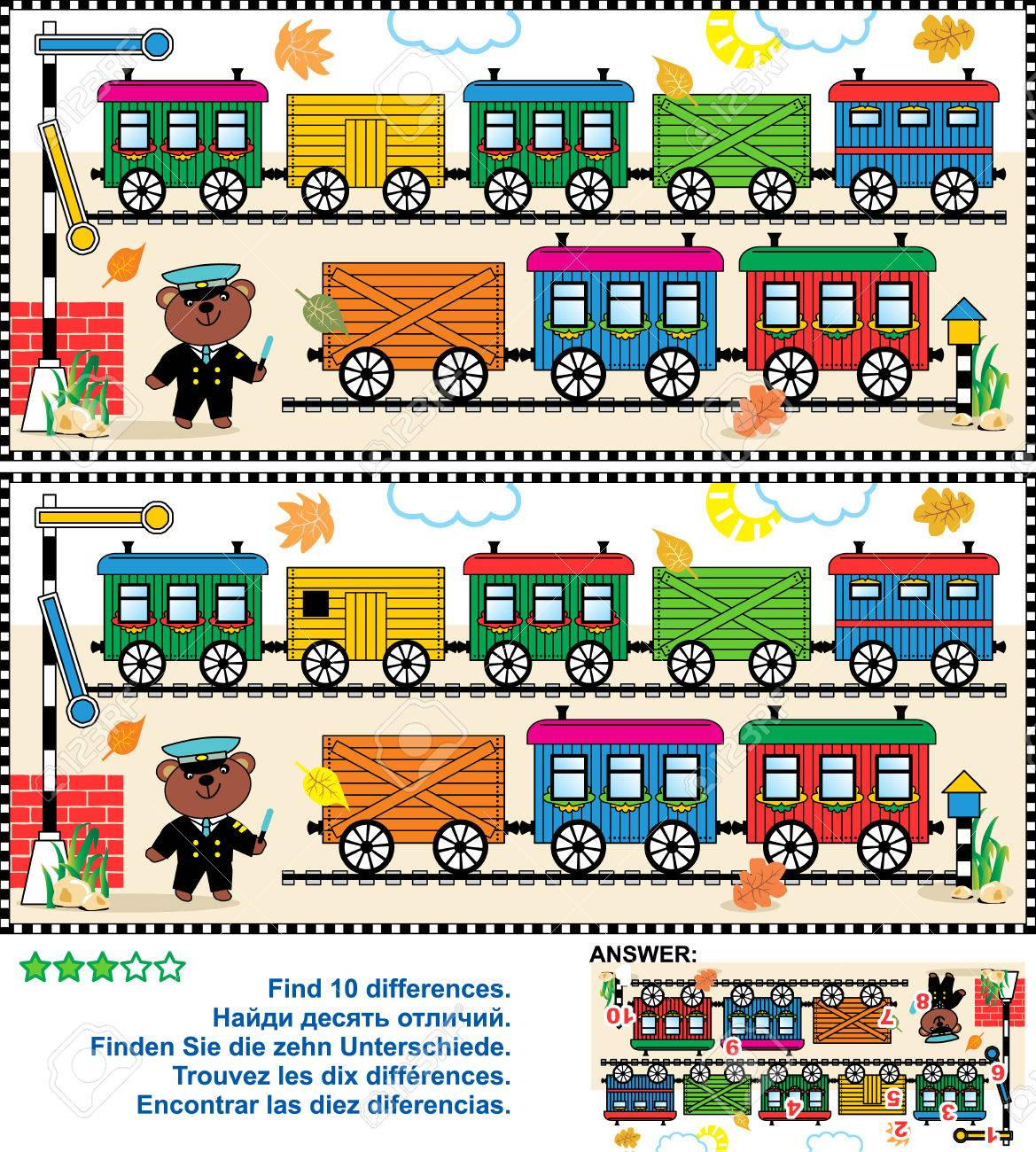 Toy train visual puzzle: Find the ten differences between the two pictures - train cars, railway, railroad roadsigns, teddy bear the railman - 38686344