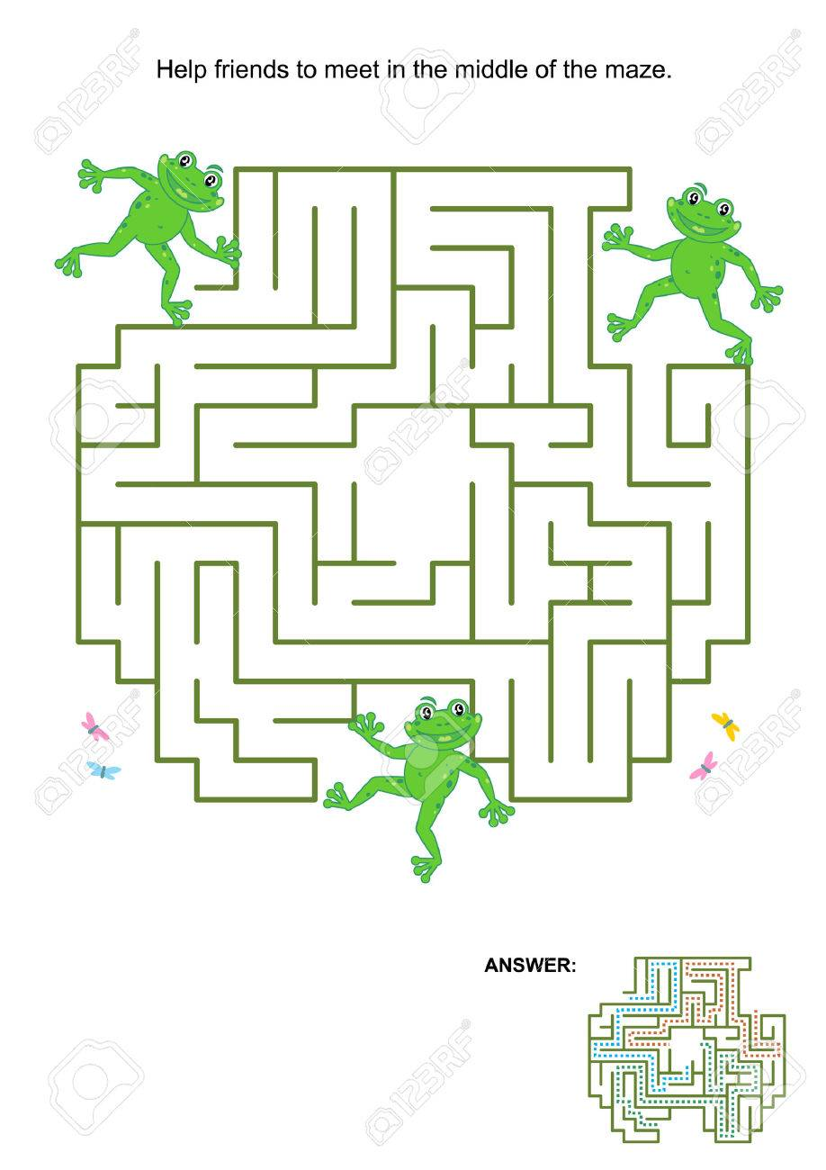 Maze game for kids: Help the frog friends to meet in the middle of the maze. Answer included. - 38728067