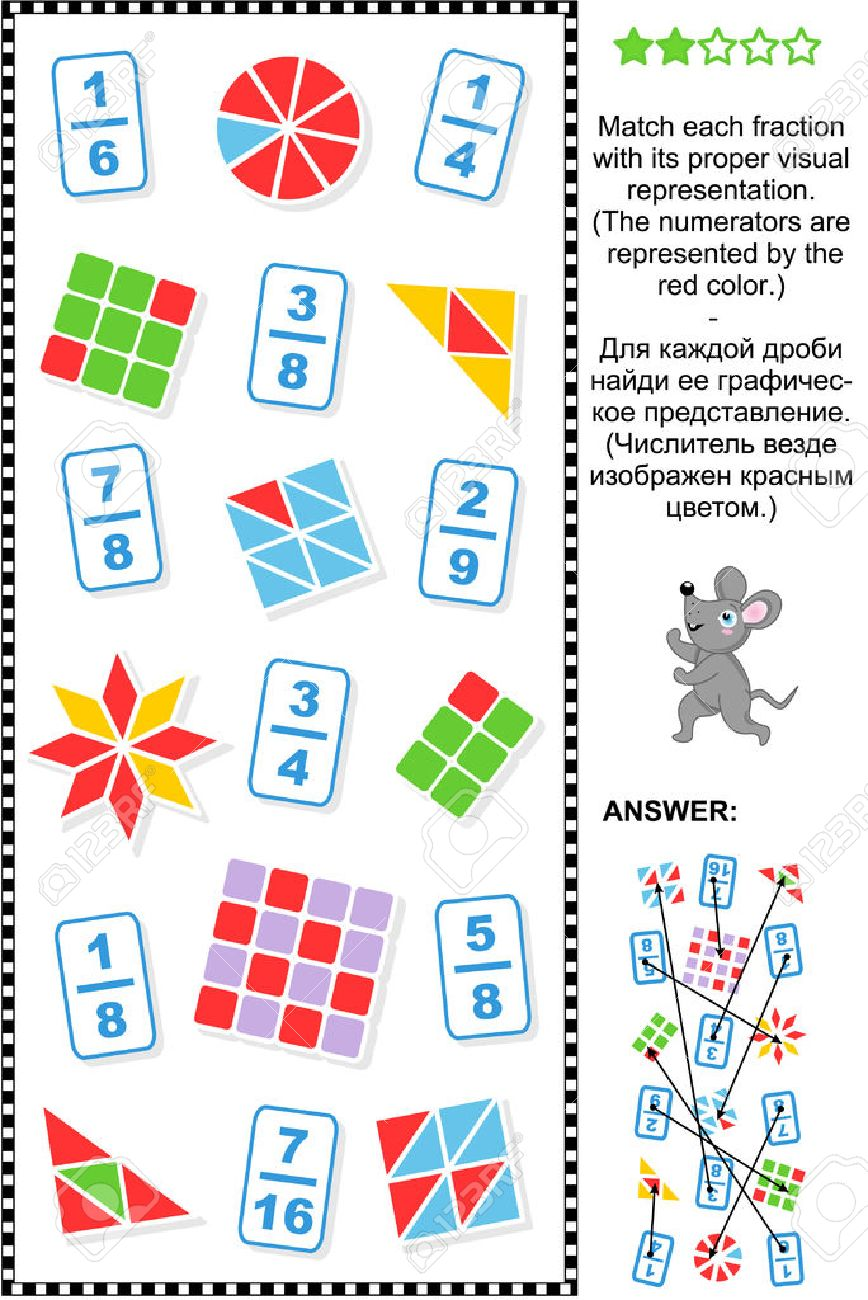 Educational Math Puzzle: Match Each Fraction To Its Proper Visual  Representation Answer Included