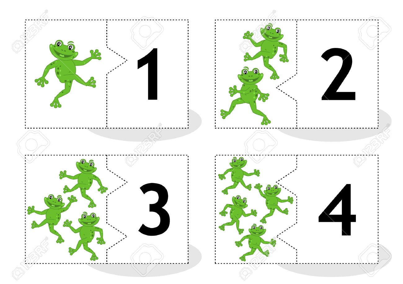 Learn Counting 2part Puzzle Cards To Cut Out And Play Frogs Themed Numbers 1 4 Stock