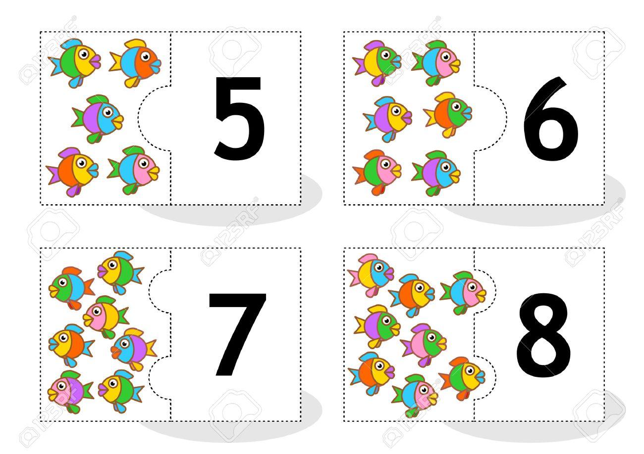 Erfahren Zahlen 2part Puzzle Karten Zum Ausschneiden Und Spielen