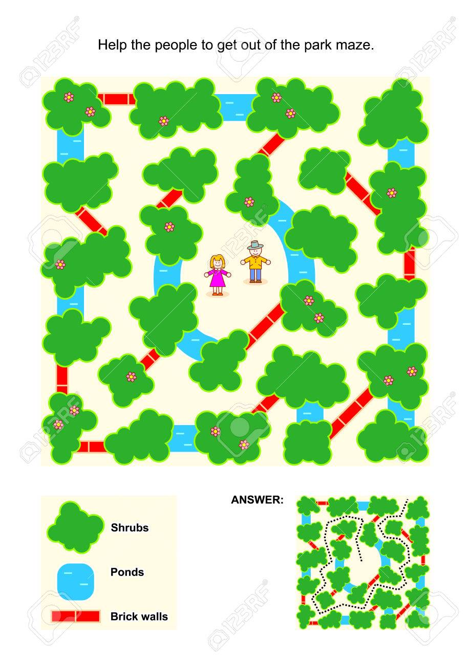 Maze game for children: Help the people to get out of the park maze. Avoid shrubs, ponds and brick walls. Answer included. - 41076947