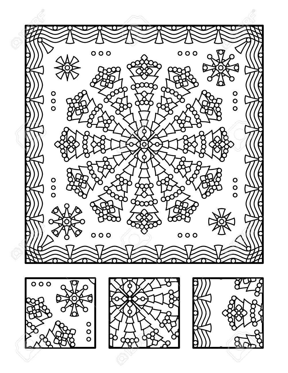 Enmarcado Página Para Colorear Mandala Para Adultos Niños Bien ...