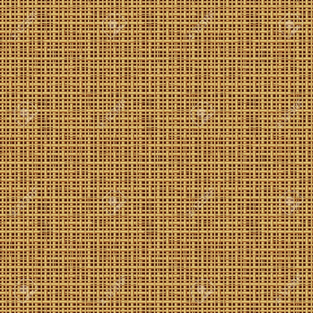 Seamless, or tilable, burlap, canvas, twig, rush, rattan, reed, cane, straw mat, rotang, wicker or bamboo pattern, else background, wallpaper, texture, swatch, print, of natural colors. You see 9 tiles. - 46415569