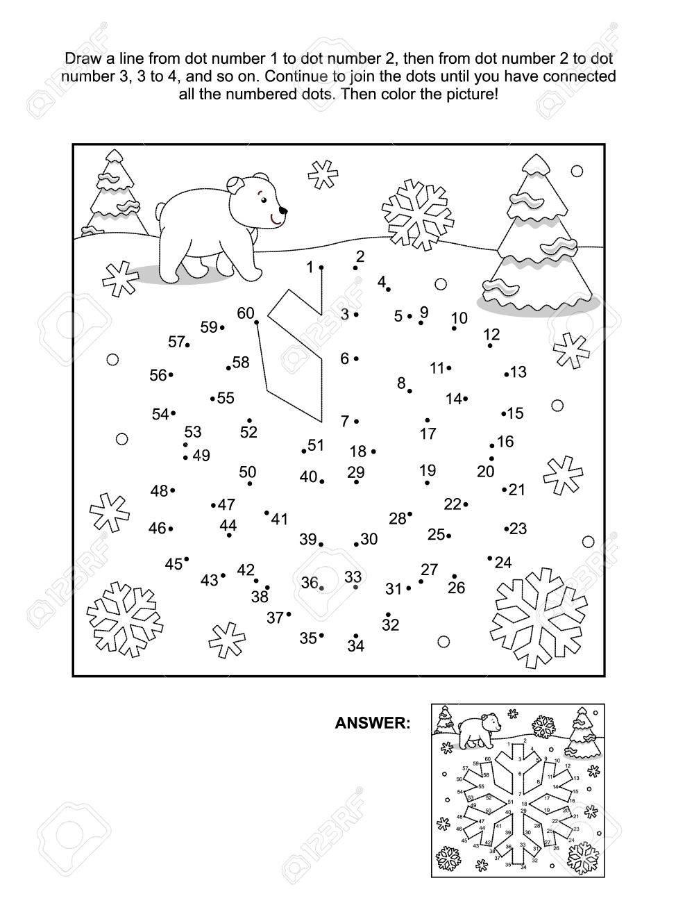 Kleurplaten Nieuwjaar En Kerstmis.Winter Nieuwjaar Of Kerstmis Thema Verbind De Punten Foto Puzzel En Kleurplaat Sneeuwvlok Antwoord Inbegrepen