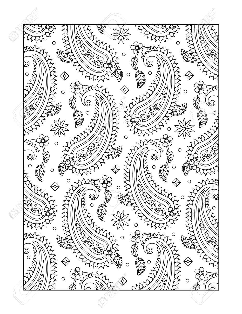 paisley pattern coloring page for adults children ok too or