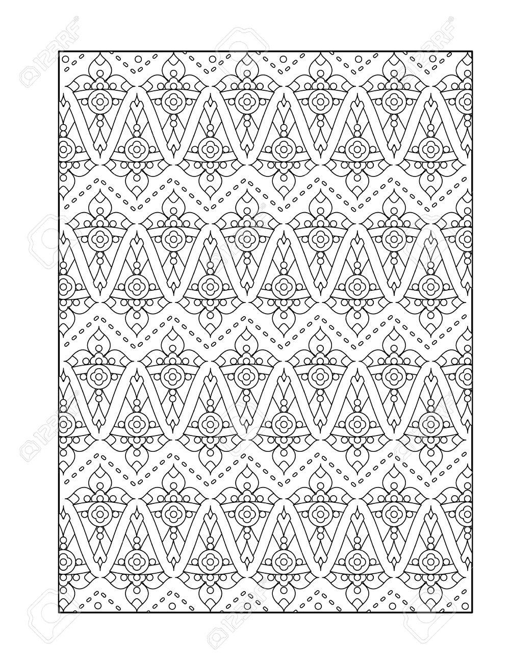 pattern coloring page for adults children ok too or monochrome