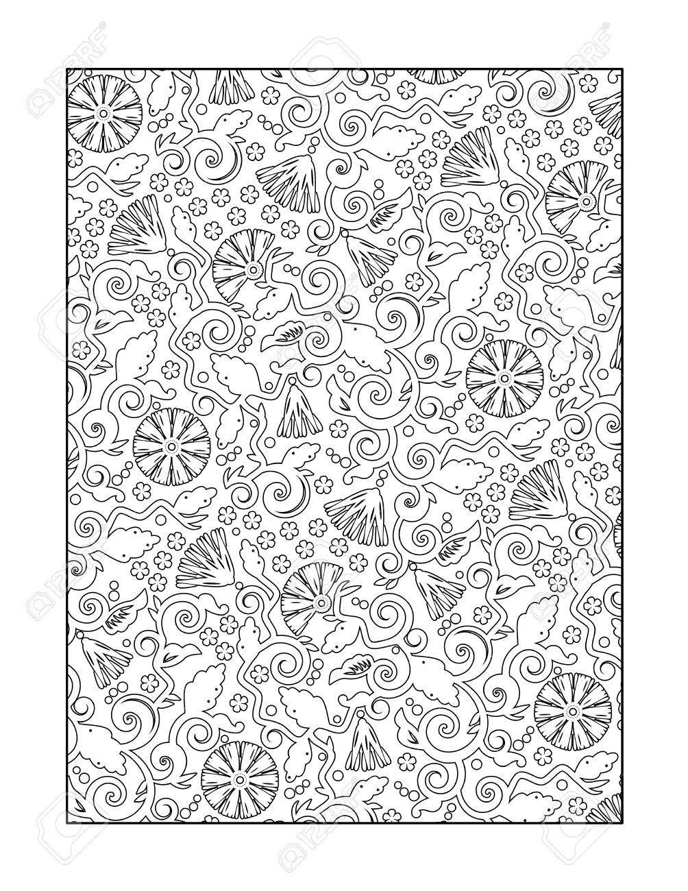 Free whimsical coloring pages for adults - Coloring Page For Adults Children Ok Too With Whimsical Swirly Floral Pattern Or Monochrome