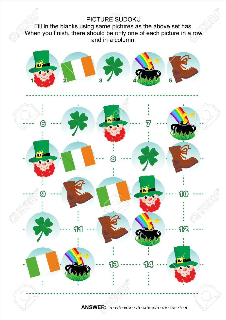 St Patrick S Day Themed Picture Sudoku Puzzle 5x5 One Block