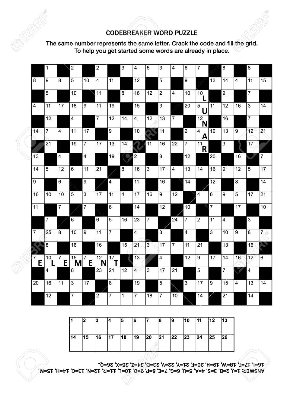 photo regarding Printable Code Cracker Puzzles identified as Puzzle web page with codebreaker or codeword, or code cracker phrase..