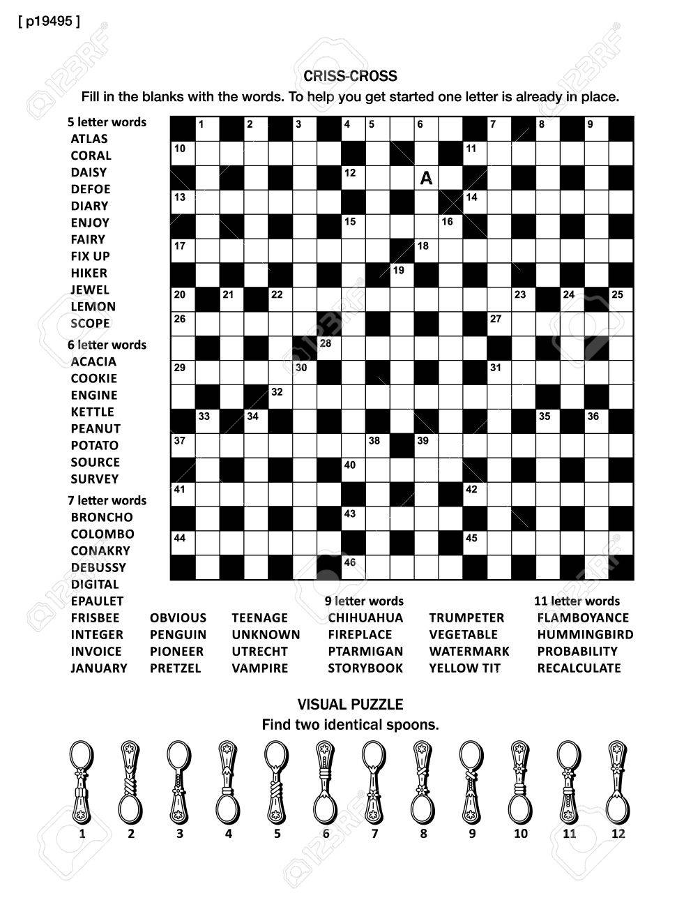 Puzzle Page With Two Puzzles: Big 19x19 Criss-cross Word Game ...
